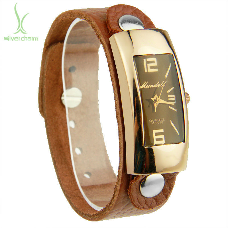 2015 AliExpress Hot Sell Vintage Brown Leather Band Rectangle Watch for Men Quartz Top Layer Unisex Wristwatch PI0547(China (Mainland))