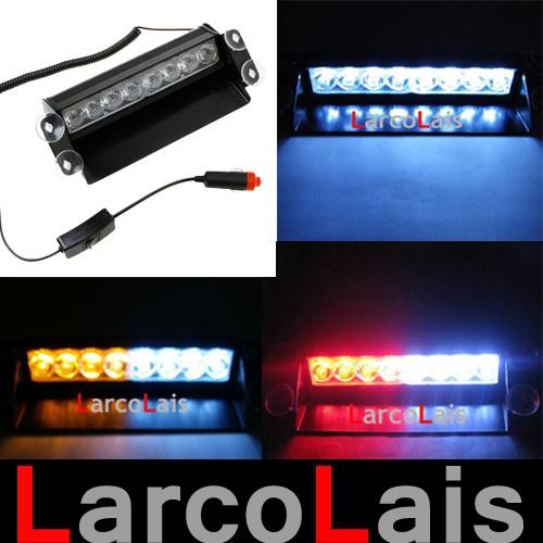 8 LED Strobe Flash Warning EMS Police Car Light Flashing Firemen Fog 8LED High Power Red Green Blue Amber White