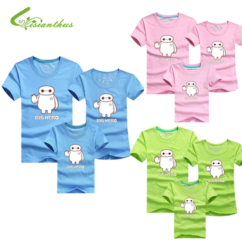 Family Look Big Hero T Shirts Summer Family Matching Clothes Father Mother Kids Outfits Cotton Baymax Tees Free Drop Shipping