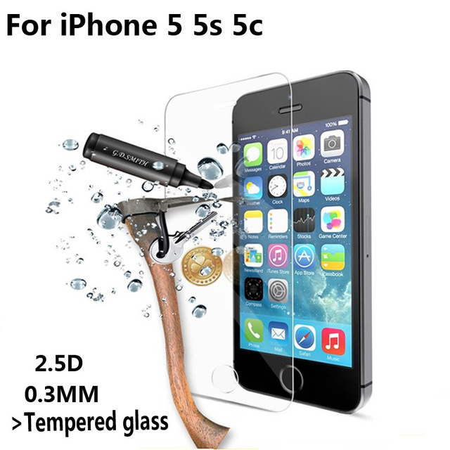 Ultra Thin 0.3mm 2.5D Premium Tempered Glass Screen Protector For iPhone 5 5S 5c 5SE HD Toughened Protective Film + Clean tools