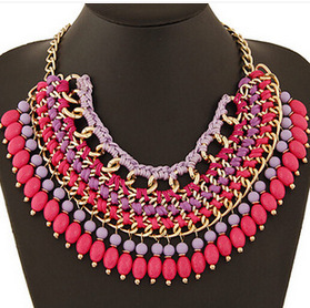 Star Jewelry New Choker Fashion Necklaces Women 2014 Bohemia Pearls Rope Weave Beads Tassel Statement Pendant Necklace 65 - Mamojko Store store