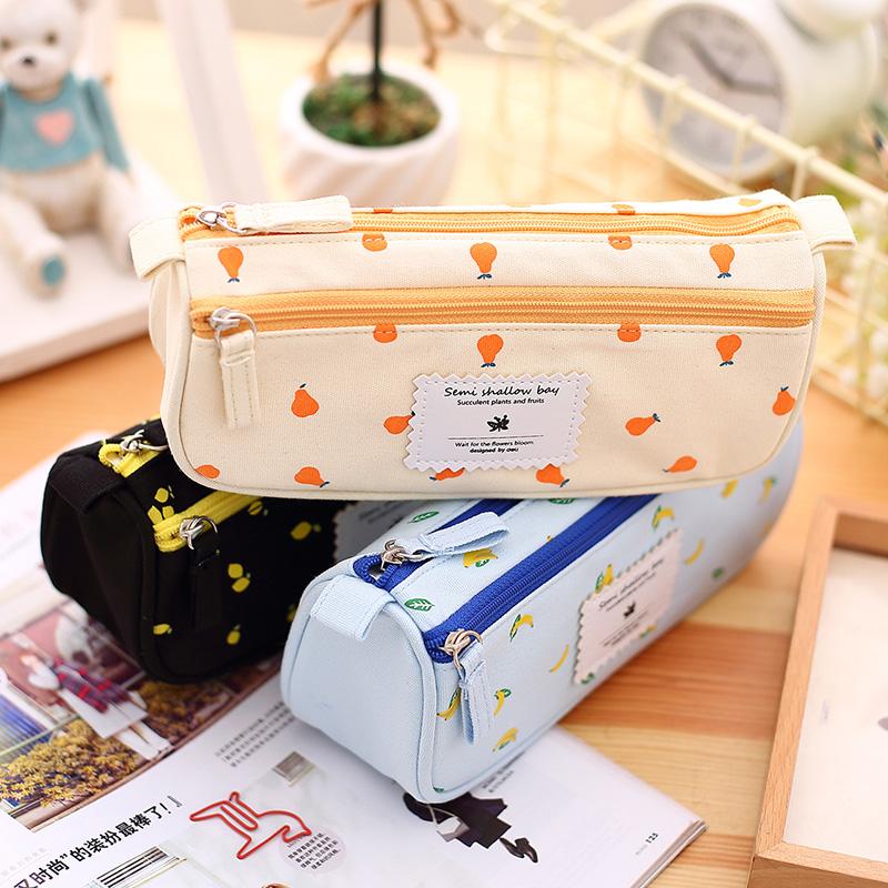 (1Pc/Sell) Kawaii pencil case canvas estojo escolar grande cases for girls etui school supplies stationery pencilcase pencil bag