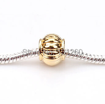 1PC Fit European Silver Bead Charm Gold Round Fashion Jewelry DIY Beads - Helmet & Accessories store