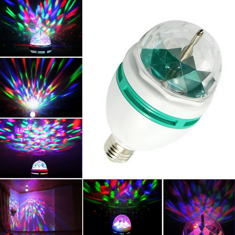Festival Decoration E27 3W Colorful Auto Rotating RGB LED Bulb Stage Effect Wall Ceiling Light Lamp Disco Event &Party Supplies(China (Mainland))