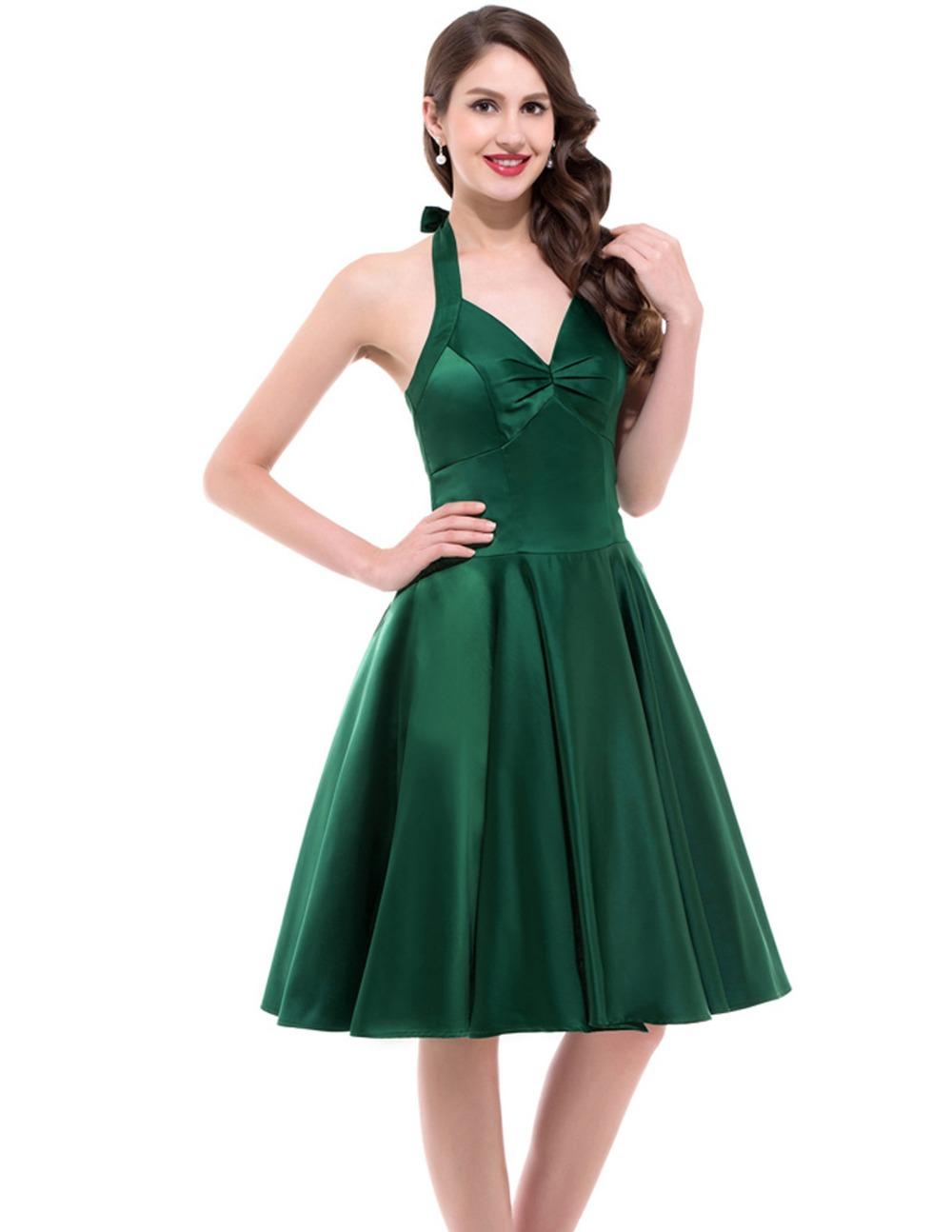Audrey Hepburn Style 1950s Vintage Dresses Spring Garden Party Picnic Dress Halter Design Pinup Swing Women Summer Dress(China (Mainland))