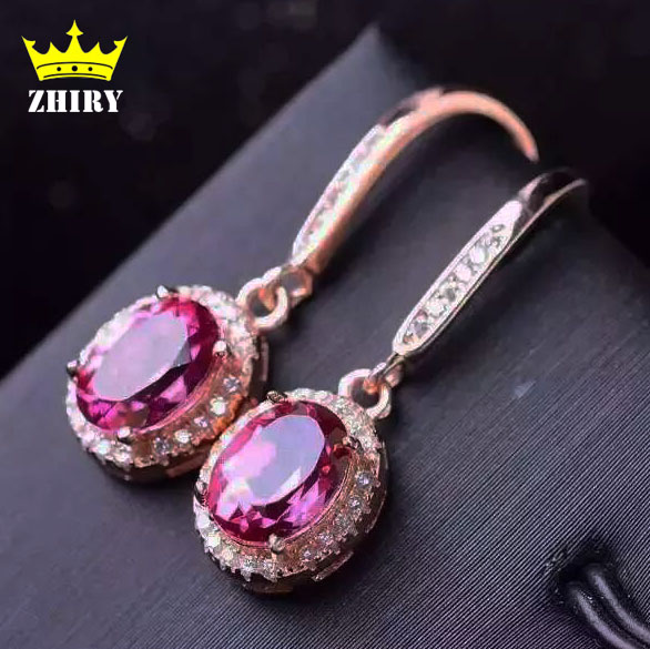 100% natural Pink topaz earring Genuine Solid 925 sterling silver Real Gem Earrings women stone fine jewelry<br><br>Aliexpress