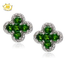 Genuine Chrome Diopside & Diamond Accents Solid 925 Sterling Silver Flower Earrings For Womens(China (Mainland))