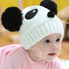 2016 Kids Clothing Toddlers Baby Kids Cartoon Panda Ball Knitted Crochet Beanie Cap Winter Hat(China (Mainland))
