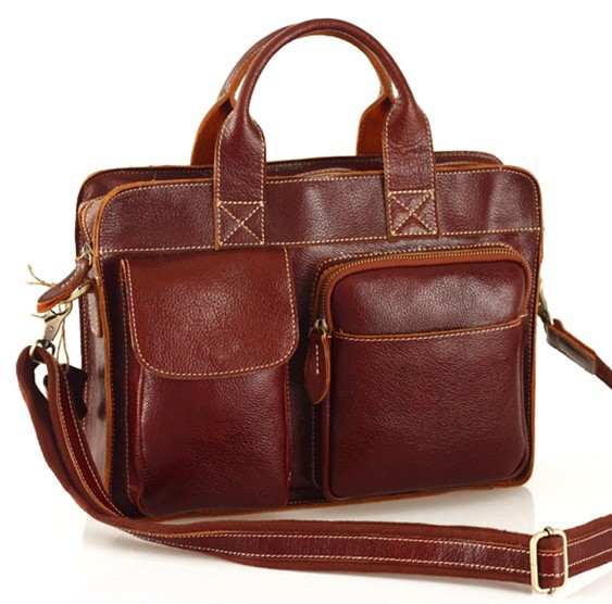Fashion men vintage Cowhide gnuine leather bag handmade male business casual notebook briefcase big handbag tote free shipping(China (Mainland))
