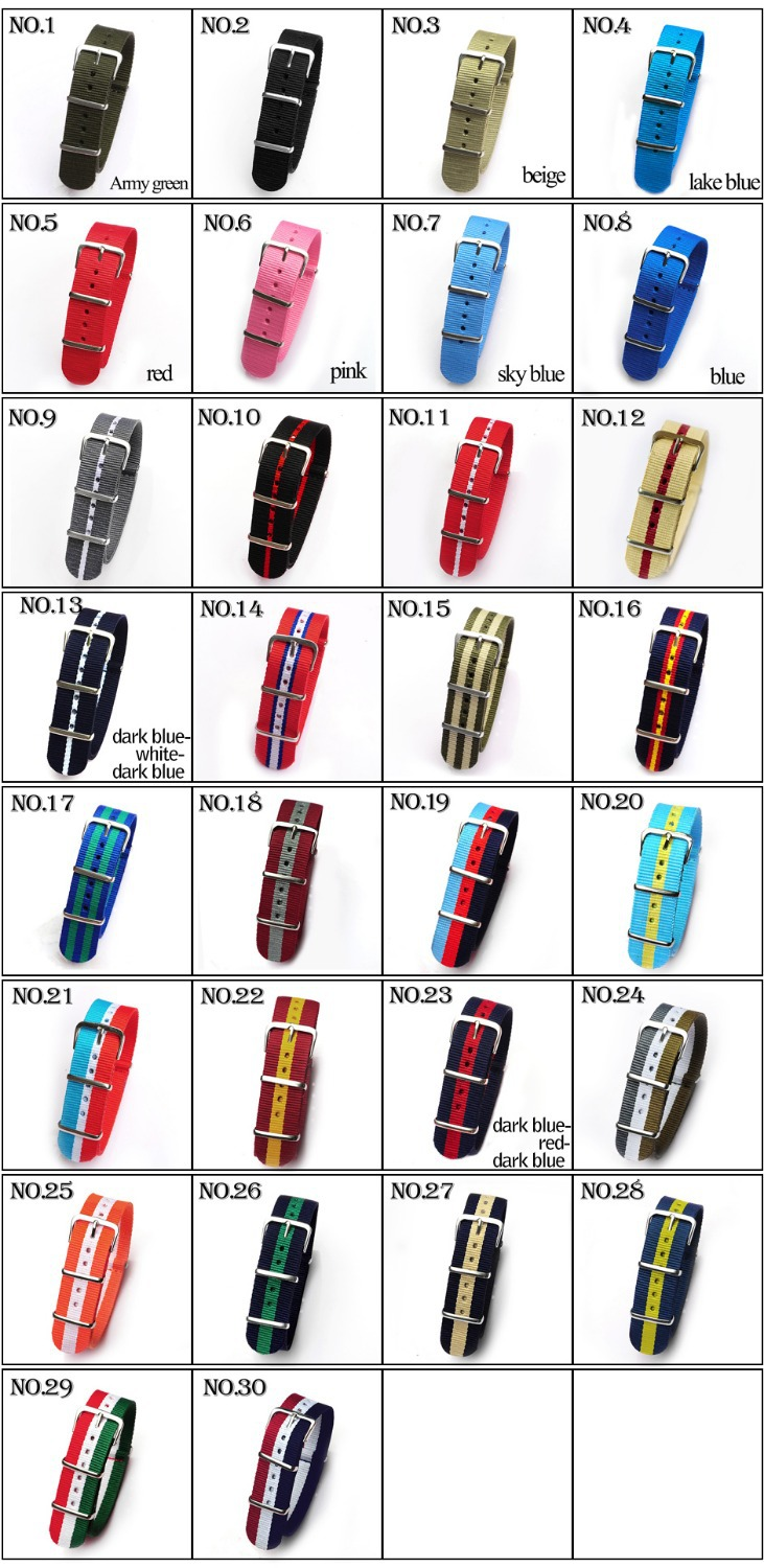 HOT 10pcs/lot 20MM nylon watchband with steel buckle.waterproof Straps, sport wrist NATO watch band Multi color for choose(China (Mainland))