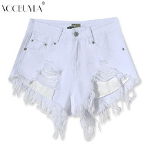 Buy Voobuyla 2017 New women High waist White denim shorts summer style sexy tassel ripped jeans shorts femme pocket hot shorts for $15.25 in AliExpress store