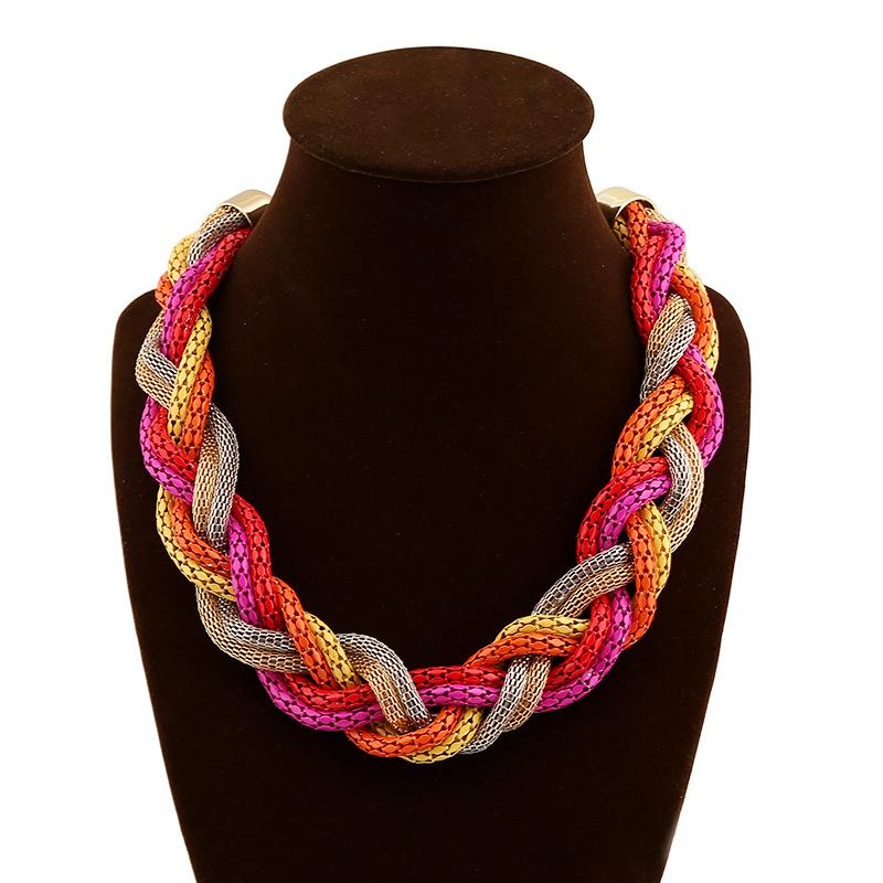 Statement Necklace Vintage Fashion Punk Big Simple Metal Chain braid Twist Chain Necklaces & Pendants Women Jewelry Accessories(China (Mainland))