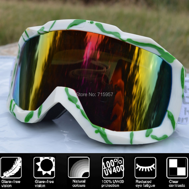 Snow Goggles Ski Snowboard Skate Motorcycle Glasses Goggles CE UV400 Protection Anti-fog Free Shipping