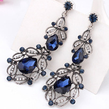 9 colors big long crystal drop earrings for women vintage earrings flower style fine jewelry wedding accessories high quality(China (Mainland))