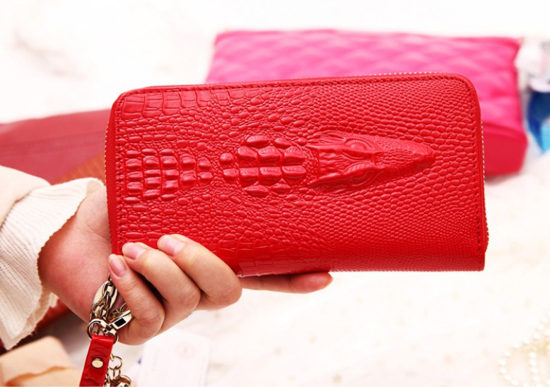 New 2015 Sac Fashion Leather Women Wallets Crocodile Skin Clutch Ladies Purse Carteira Feminina Portefeuille Colcci(China (Mainland))
