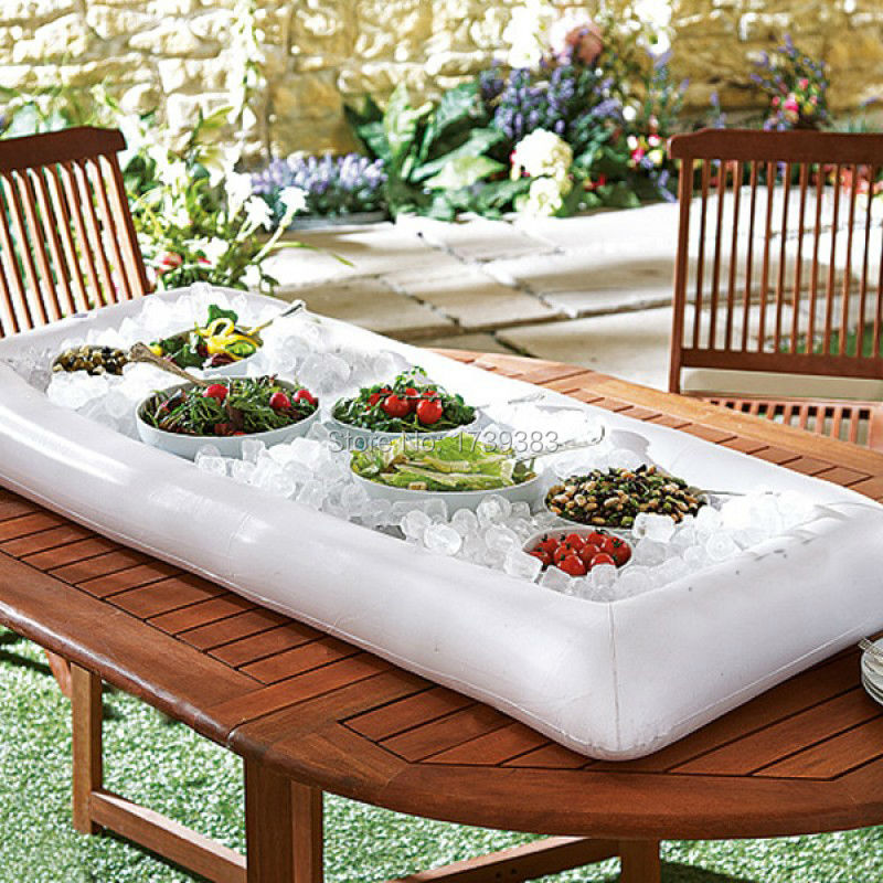 """Free Shipping luau inflatable salad bar 51""""L x 25"""" W x 4.5""""Deep Portable Buffet Cooler Beverage Cooler Food Drink Storage Holder(China (Mainland))"""