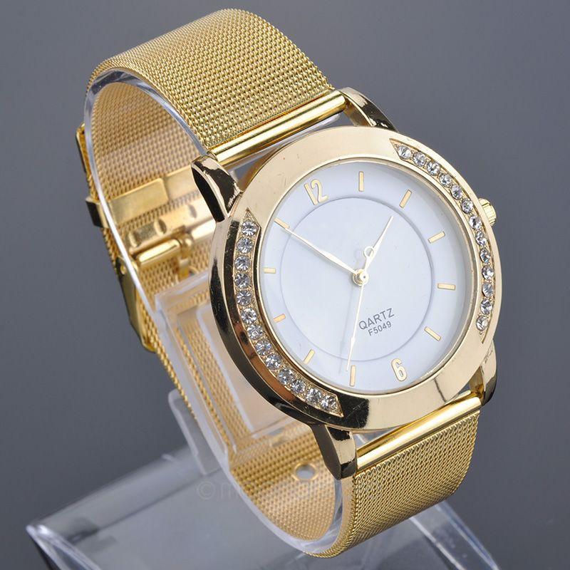 2015 Women Elegant Quartz Stainless Steel Large Rhinestone Case Watch Quartz Watches Golden Watches Dress Watches FMHM386#M1(China (Mainland))