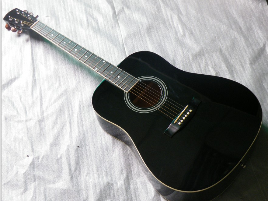 full size electric acoustic guitar black color 41inch