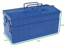 2-Tier Foldable Big Metal Tool Box Side by Side Open Folding Tool Box