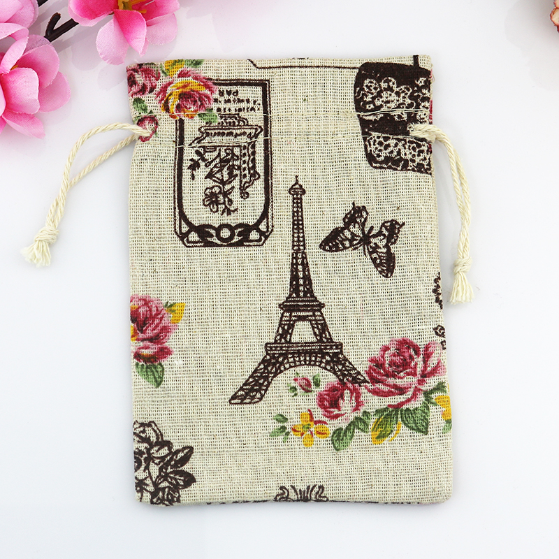 Wholesale 100pcs mini Drawstring Cotton Bag Gift Tea Sachet Storage Pouch Eiffel Tower Pattern Packing Bags 10*14cm(China (Mainland))