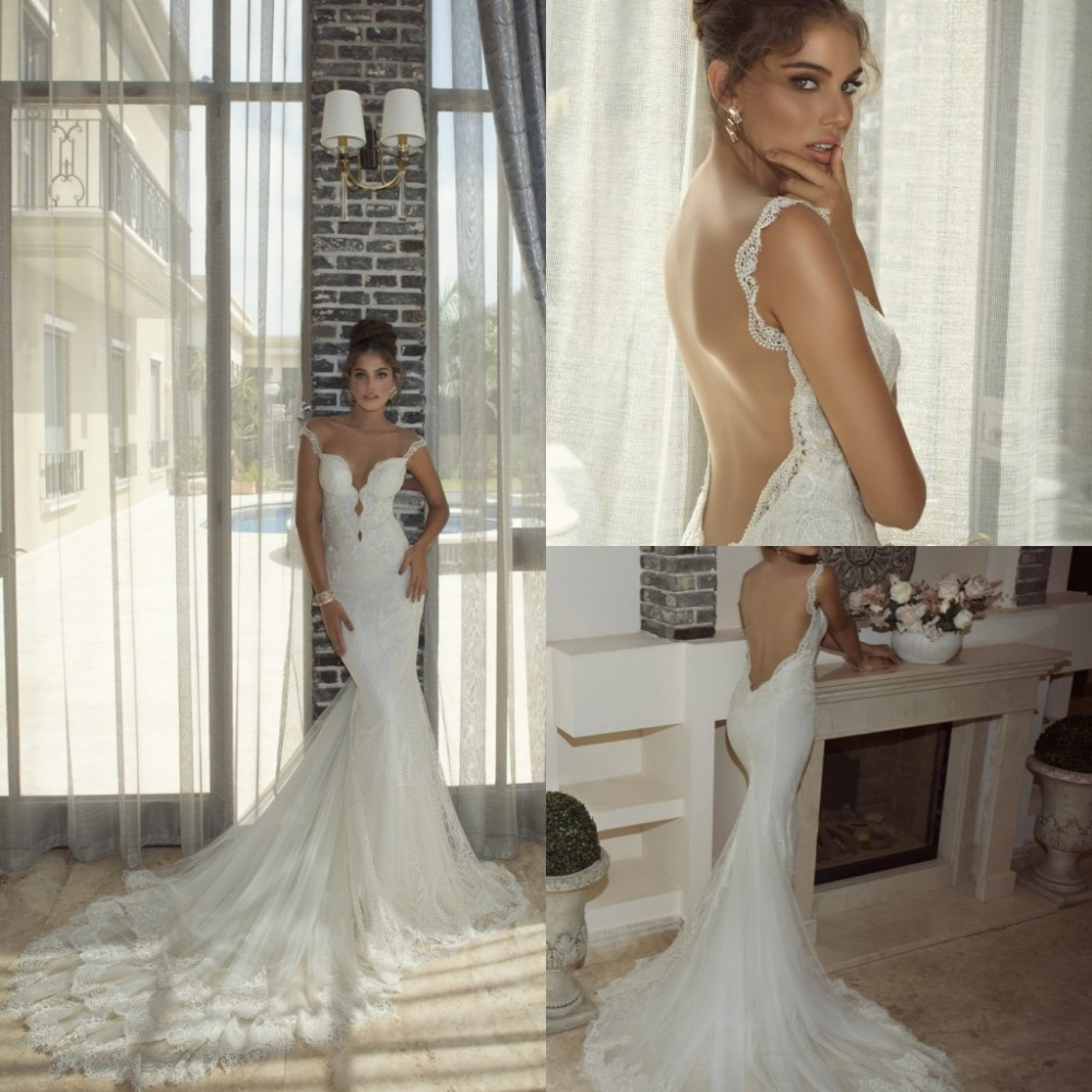 New galia lahav 2014 abendkleider lace sexy open low back for Sexy open back wedding dress