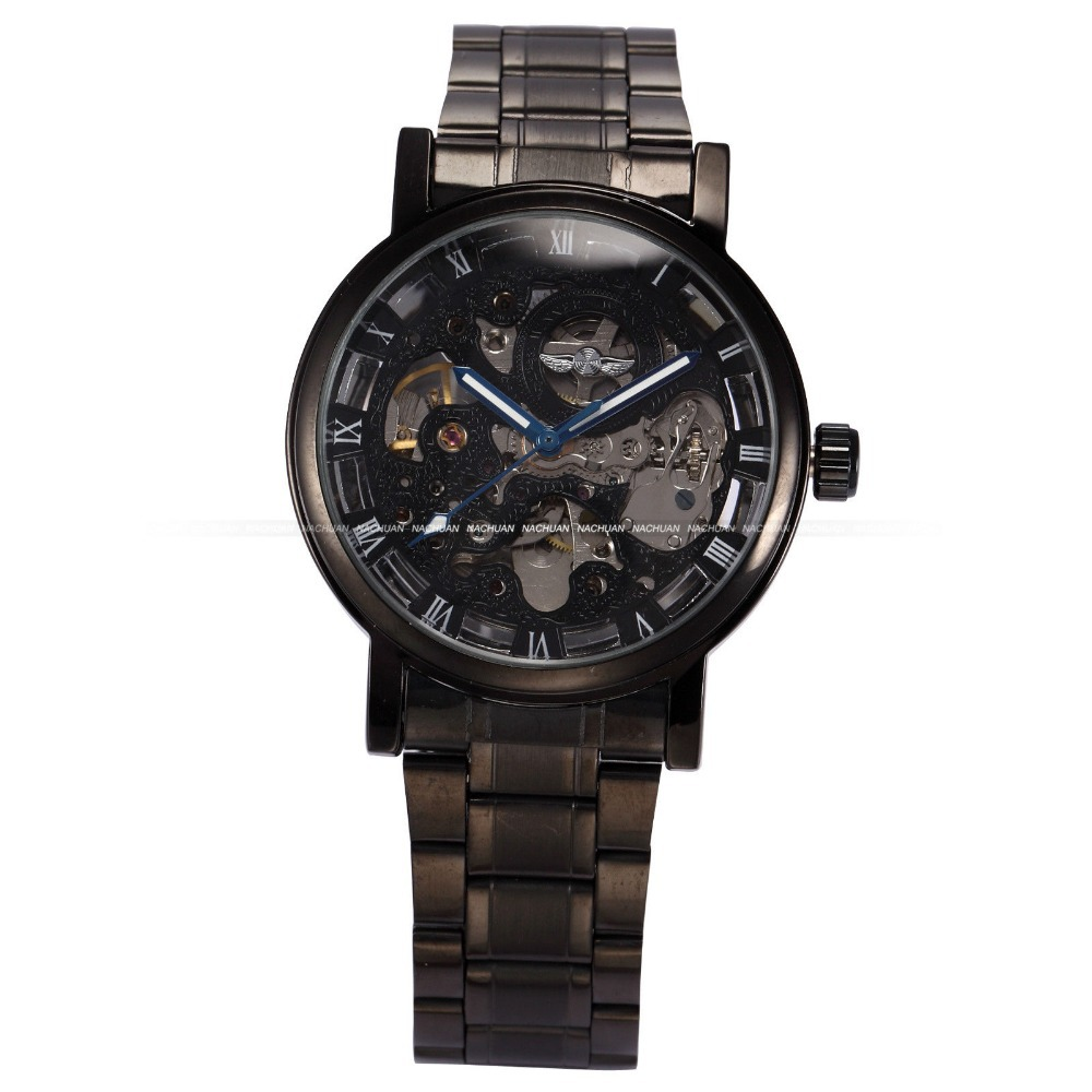 Mens Steampunk Black Case Relogio Luxury Hollow Skeleton Male Automatic Self Wind Mechanical Stainless Full Steel Watch / PMW269(China (Mainland))