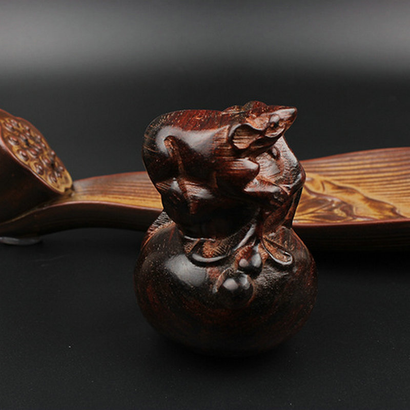 Chinese Wood Made Crafts Auspicious Wooden Craft Hand Made Ornaments With Mouse Calabash Engrave Figurines Traditional Culture(China (Mainland))
