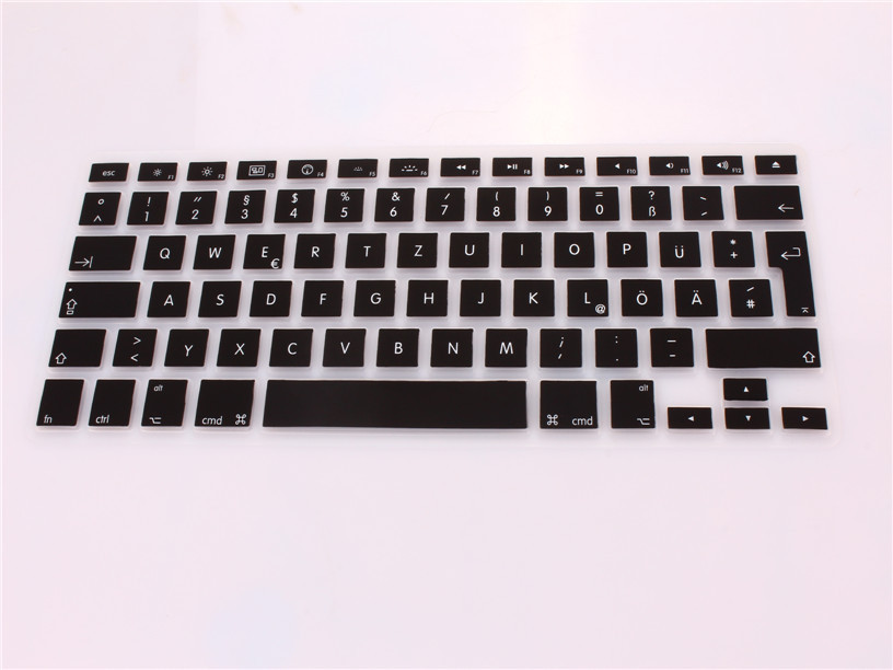 New EU German Letter Silicone Keyboard Protector Cover Skin Film For Apple Notebook MacBook Pro 13 15 17 Air Retina 13(China (Mainland))