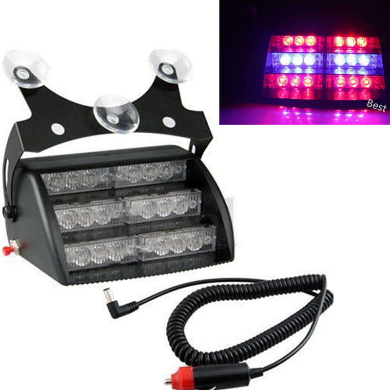 New Yellow / White 18 Led Flash Boat Truck Car Flashing Warning Signal Emergency Windshield Unit 3 Mode Police Strobe Light Lamp(China (Mainland))