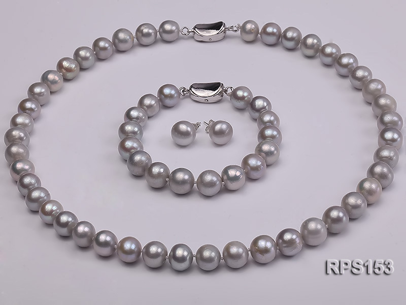 10-11mm grey round freshwater pearl necklace,bracelet and earring set<br><br>Aliexpress