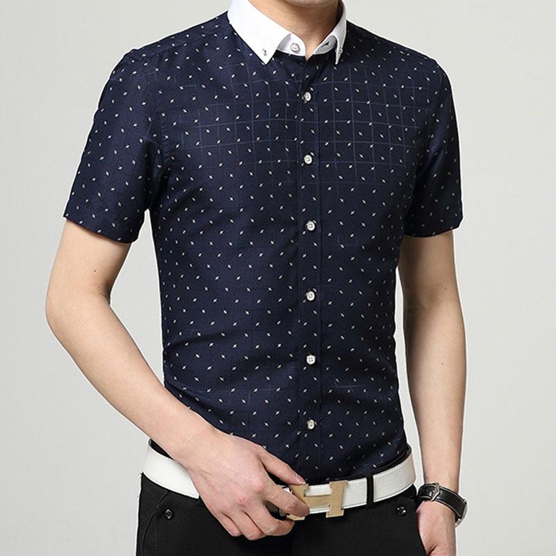 2016 New Men Polka Dot Printed Fashion Slim Short Sleeve Shirts Male Casual Polyester Business Style Man Dress Shirt Vestidos(China (Mainland))