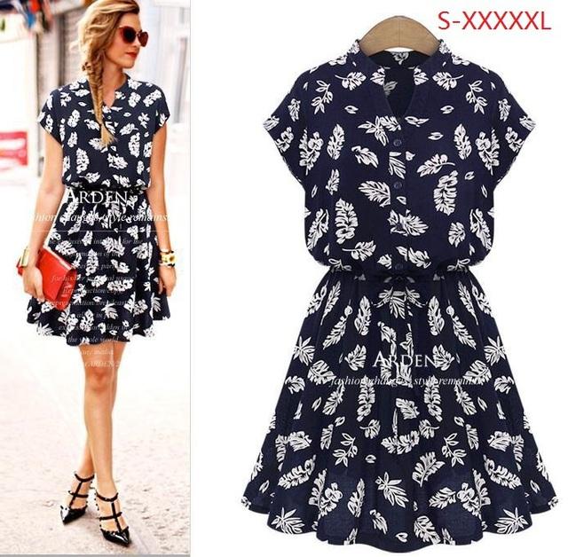 2015 мода высокое качество горячих женщин лето хлопок печать свободного покроя стенд воротник рубашки платье Большой размер платья S-XXXXXL 662A 42