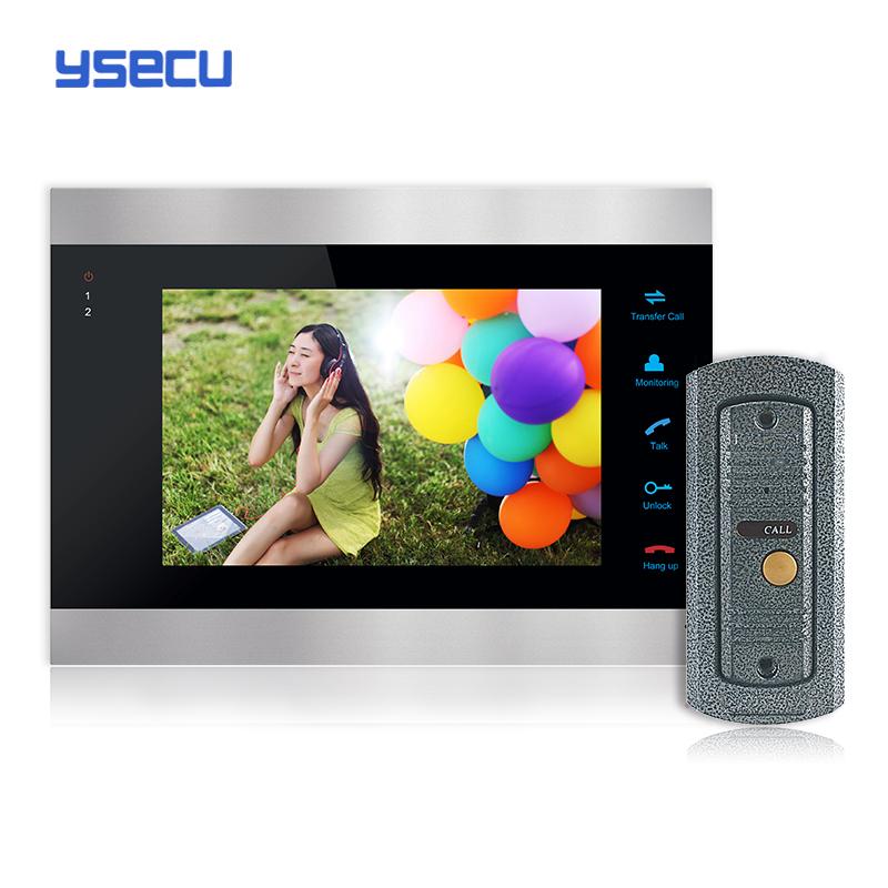 Buy Monitor Get Doorbell free YSECU 7 Inch Color LCD Video Door Phone Intercom System Door Release Unlock Doorbell Camera Free(China (Mainland))