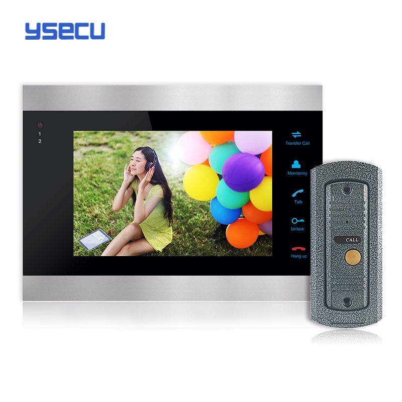 Buy Monitor Get Doorbell free YSECU 7 Inch Color LCD Video Door Phone Intercom System Door Release Unlock Doorbell Camera Free(China (Mainland))