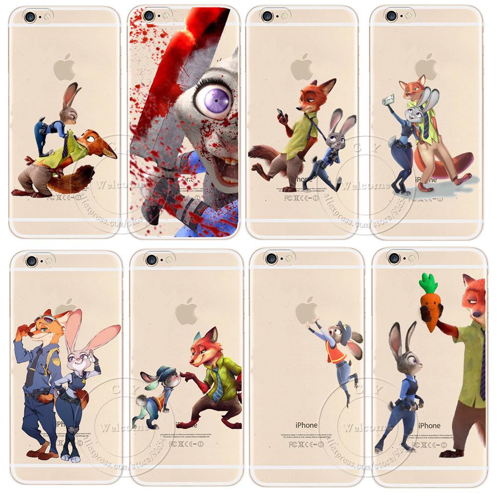 For Apple iPhone 4 4S 5 5S SE 5C 6 6S Plus 6SPlus Back Case Cover Cute Zootopia Zootropolis Design Hard Plastic Cell Phone Cases(China (Mainland))