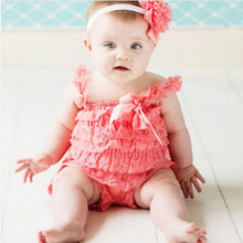 Cute Petti Baby Girl Lace Romper with Straps and Ribbon Bow Jumpsuit Infant 21 Colors(China (Mainland))