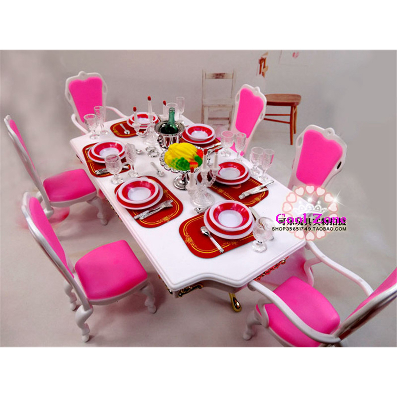 Miniature Furniture Dining Room-D for Barbie Doll House Pretend Play Toys for Girl Free Shipping<br><br>Aliexpress