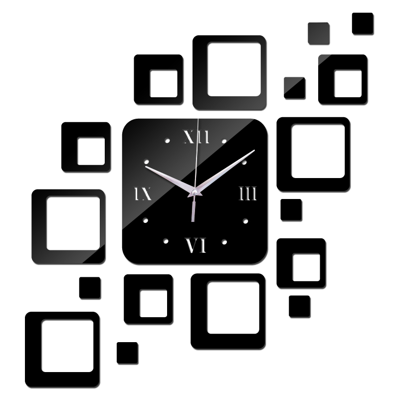 new 2015 direct selling led acrylic wall clock 17 squares Quartz mirror Modern home decoration diy stickers freeshipping(China (Mainland))
