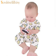 New Summer Baby Girl Romper Cute Pineapple Printed Newborn Coffee Cups Rompers Infant Cotton Clothing Boys Girls Jumpsuits(China (Mainland))