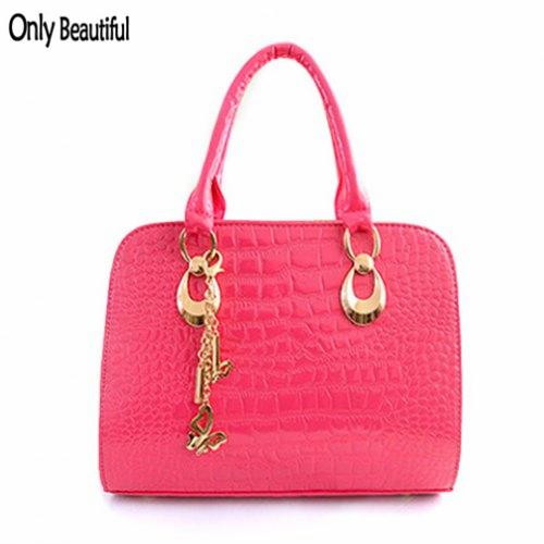 2015 New Fashion Gorgeous Crocodile Print Metal Pendant Design Women's Handbag Ladies Casual Bag High Quality Free Shipping(China (Mainland))