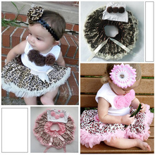 Baby 2 Pieces Outfits Girl Kids Flowers Top And Skirt Set Leopard Tutu Dress
