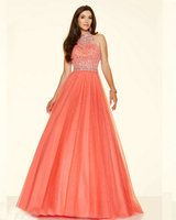 Style 98096 Floor Length Aqua Color Dress Pucker Up Pink Tulle Coral Colored Prom Dresses High Neck White Dresses Long 2016