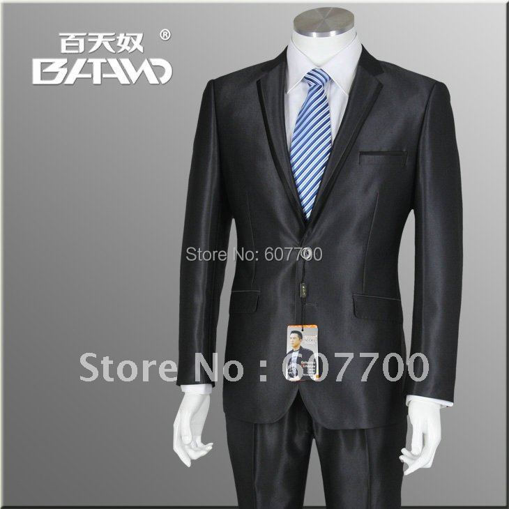 black Leisure Suit,Brand Name Suit,Casual Men's Suitcontains(Jacket+pant) Color:Black Size:M-XL shiny 100% wool FREE FAST SHIP(China (Mainland))