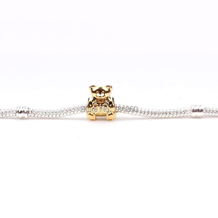 1PC European Style Beads Silver Gold Bear Bead Charm Fit Snake Bracelet - MEIBEADS-Diy Jewelry Making Supplies Store store