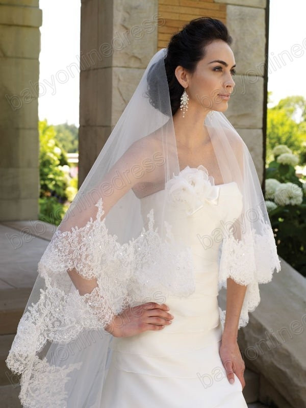 2015 New Wedding Accessory Three Meters Long Veils lace Ivory White Two layers Tulle Bridal Purfle Comb - Weddings & Events Collection store