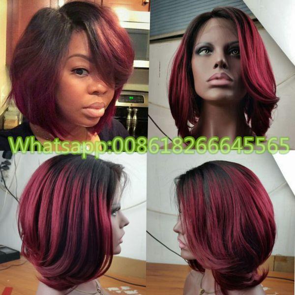 2016 new style hot ombre couleur de cheveux humains bob perruque 1b 99j 100 vierge de. Black Bedroom Furniture Sets. Home Design Ideas