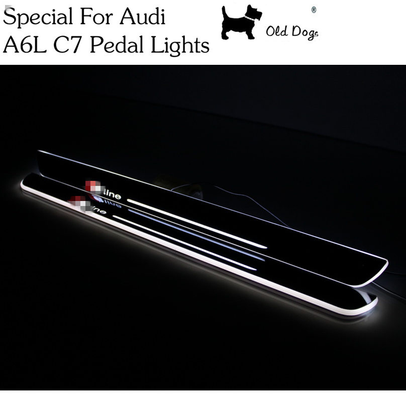 2 Pcs for Audi A6L C7 Car Styling LED pedal lights pathway light Door Sill scuff plate welcome threshold panel flash lamp<br><br>Aliexpress