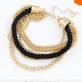 Hello Kitty Mix 10$ B3222 Fashion Popular Low key Luxurious Metal Chain Braided rope Multilayer bracelet Anklets(China (Mainland))