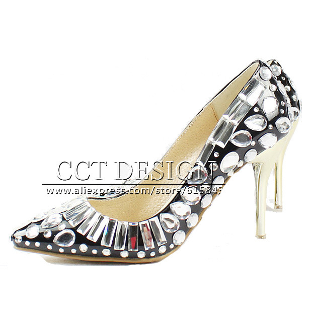 2015 New Women Pumps High Heels Shoes Women Sexy Elegant Evening Party Dress Shoes Black Pointed Toe Crystal Shoes Summer