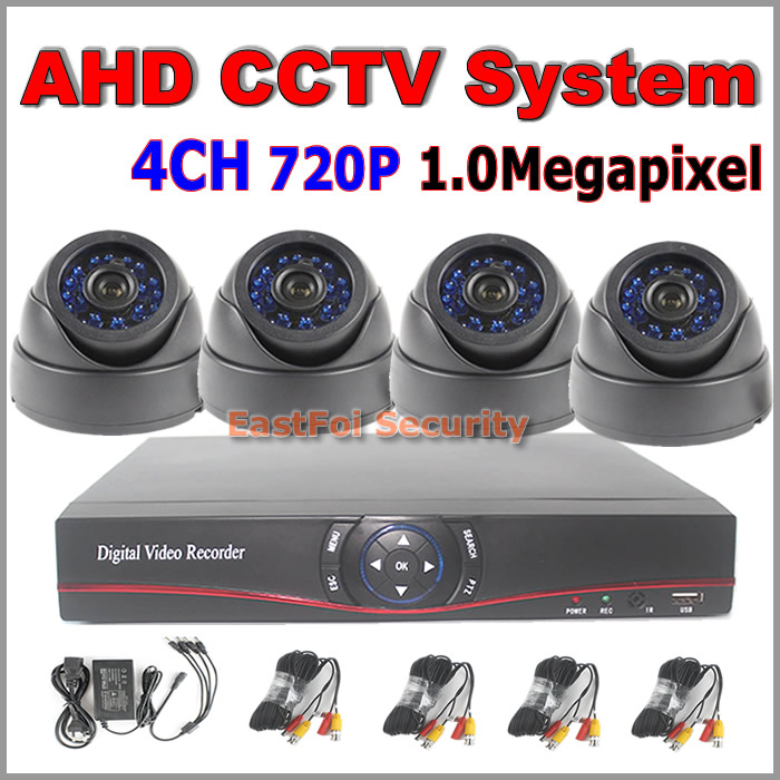 Most popualr! 1.0Megapixe high definition dome camera with IRCUT Filter night vision + 4channel remote view AHD DVR AVR system<br><br>Aliexpress